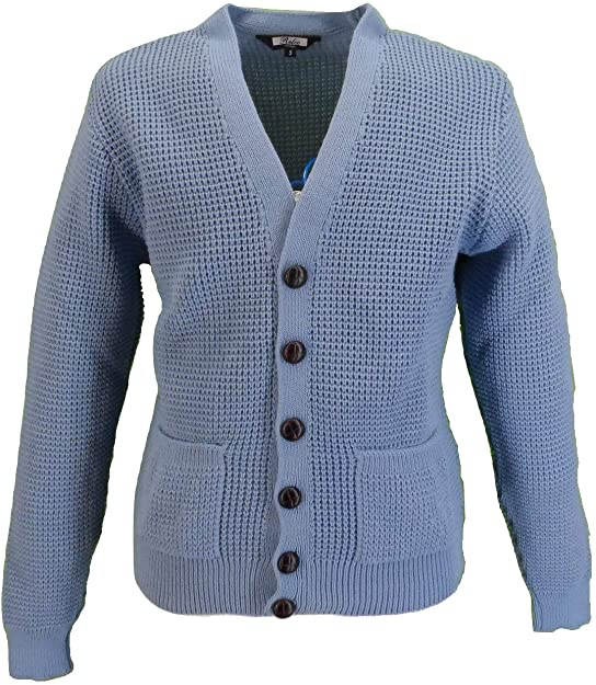 1920s Men's Fashion UK | Peaky Blinders Clothing Relco Mens Retro Waffle Knit Cardigan with Pockets £34.99 AT vintagedancer.com