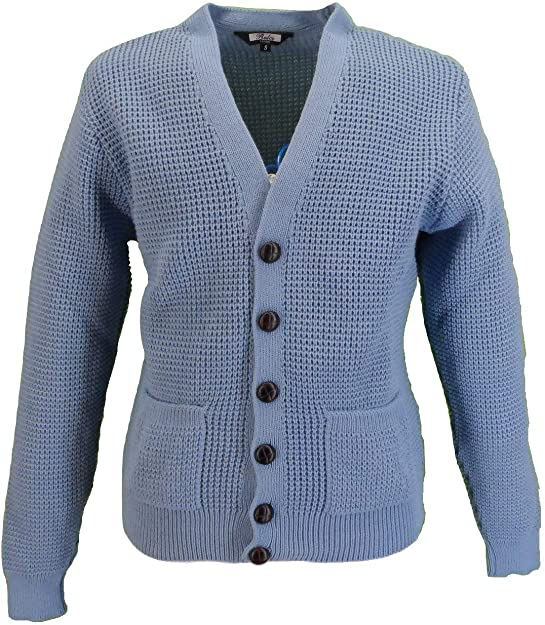 Men's Vintage Sweaters, Retro Jumpers 1920s to 1980s Relco Mens Retro Waffle Knit Cardigan with Pockets £34.99 AT vintagedancer.com