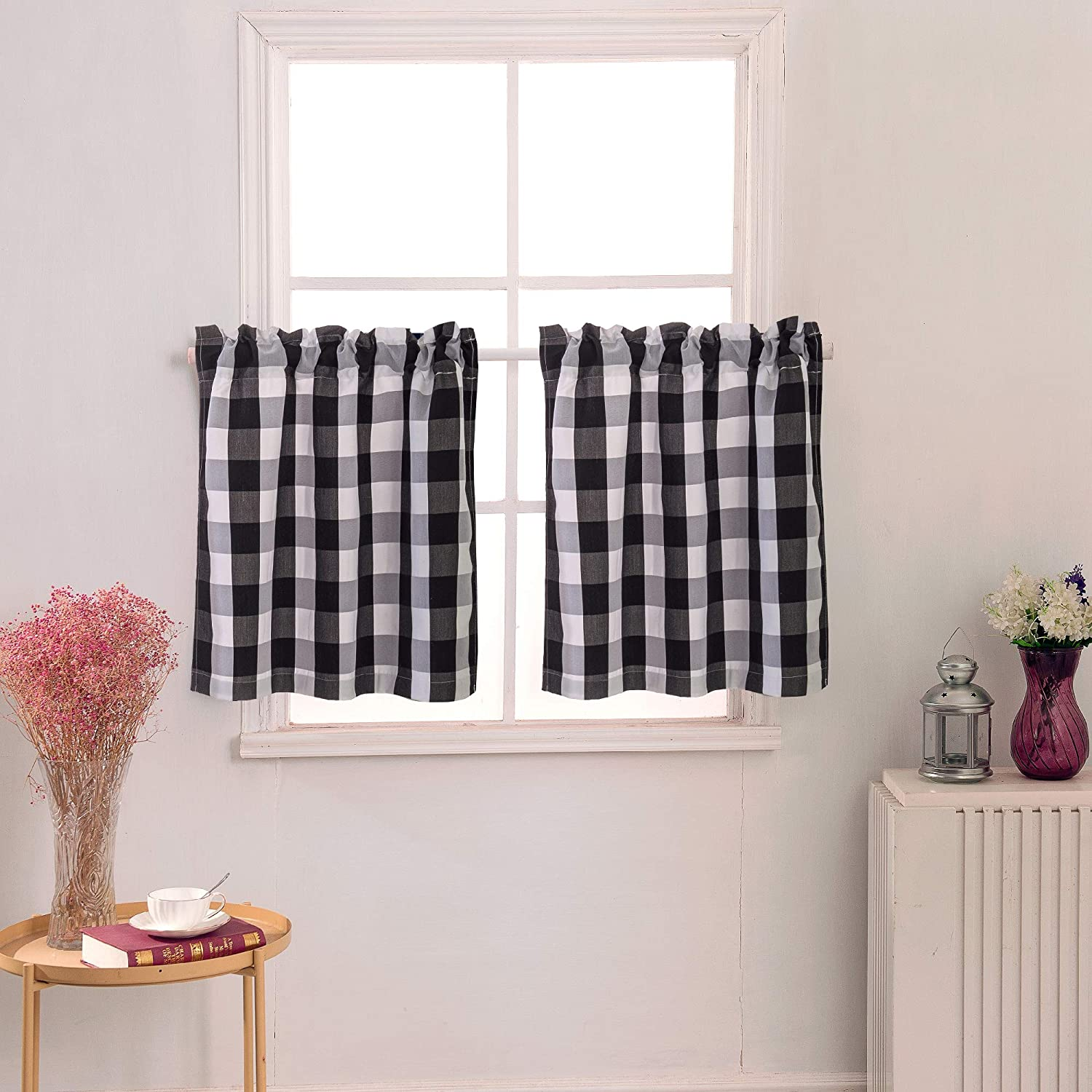 Annlaite Buffalo Checker 24 Inches Long Curtains for Kitchen Small Cafe Curtains for Window Treatment Set 2 Panels Black