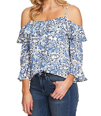 bafacca43 CeCe $89 Womens New 1103 Blue Ruffled Cold Shoulder 3/4 Sleeve Top S ...
