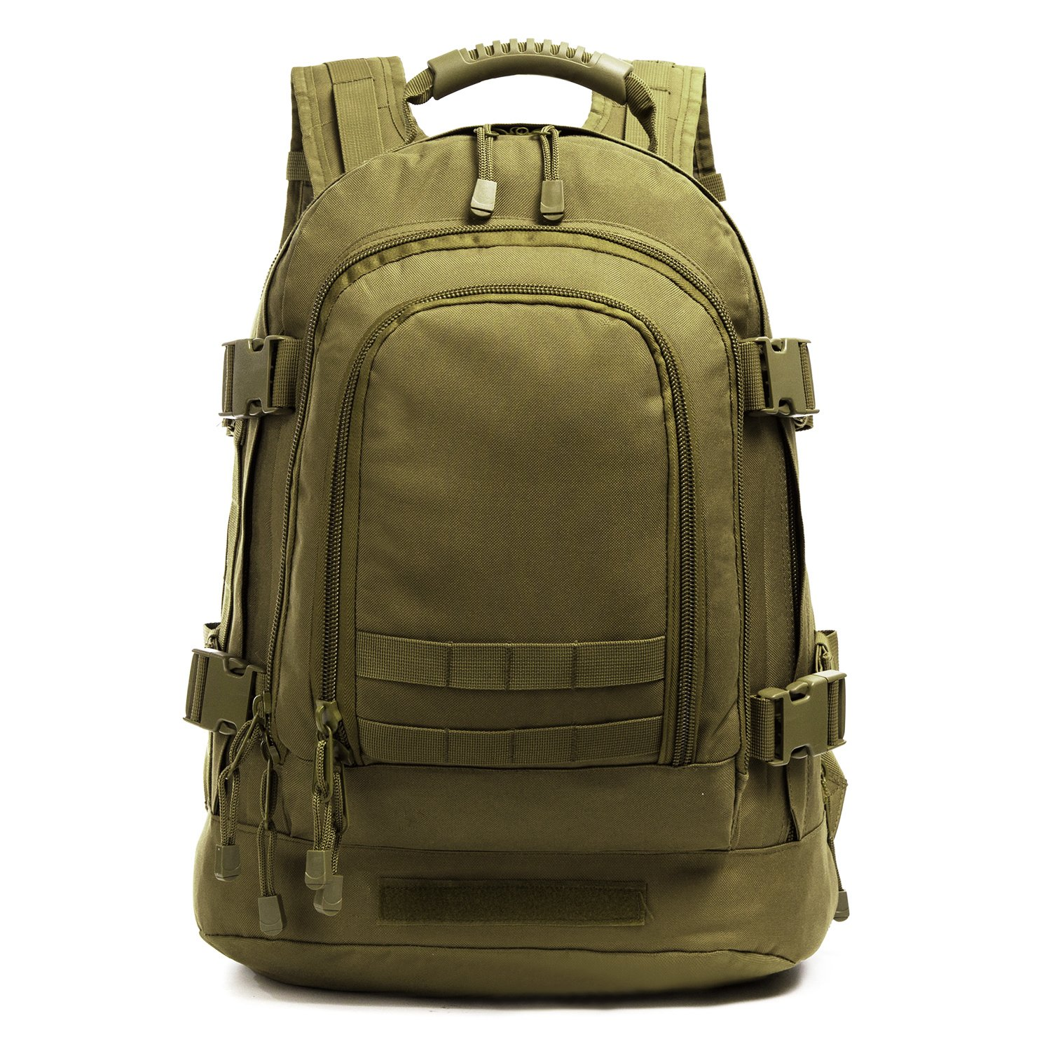 Military Outdoor Backpack,Expandable Tactical Backpack,Travel Backpack,DIY System Up to 64L Loading Space for Travel,Camping,Hunting,Trekking and Hiking (Green, Not with Belt)