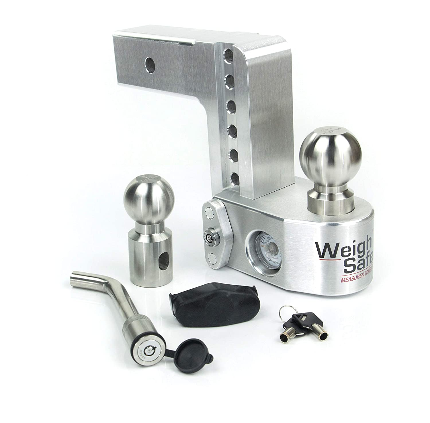 6 Drop Hitch w// 2.5 Shank//Shaft Adjustable Aluminum Trailer Hitch /& Ball Mount w//Built-in Scale 2 /& 2-5//16 Keyed Alike Key Lock and Hitch Pin Weigh Safe WS6-2.5-KA 2 Stainless Steel Balls