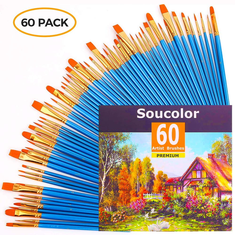 Acrylic Paint Brush Set, 6 packs/60pcs Nylon Hair Brushes for All Purpose Oil Watercolor Painting Artist Professional Kits by Soucolor