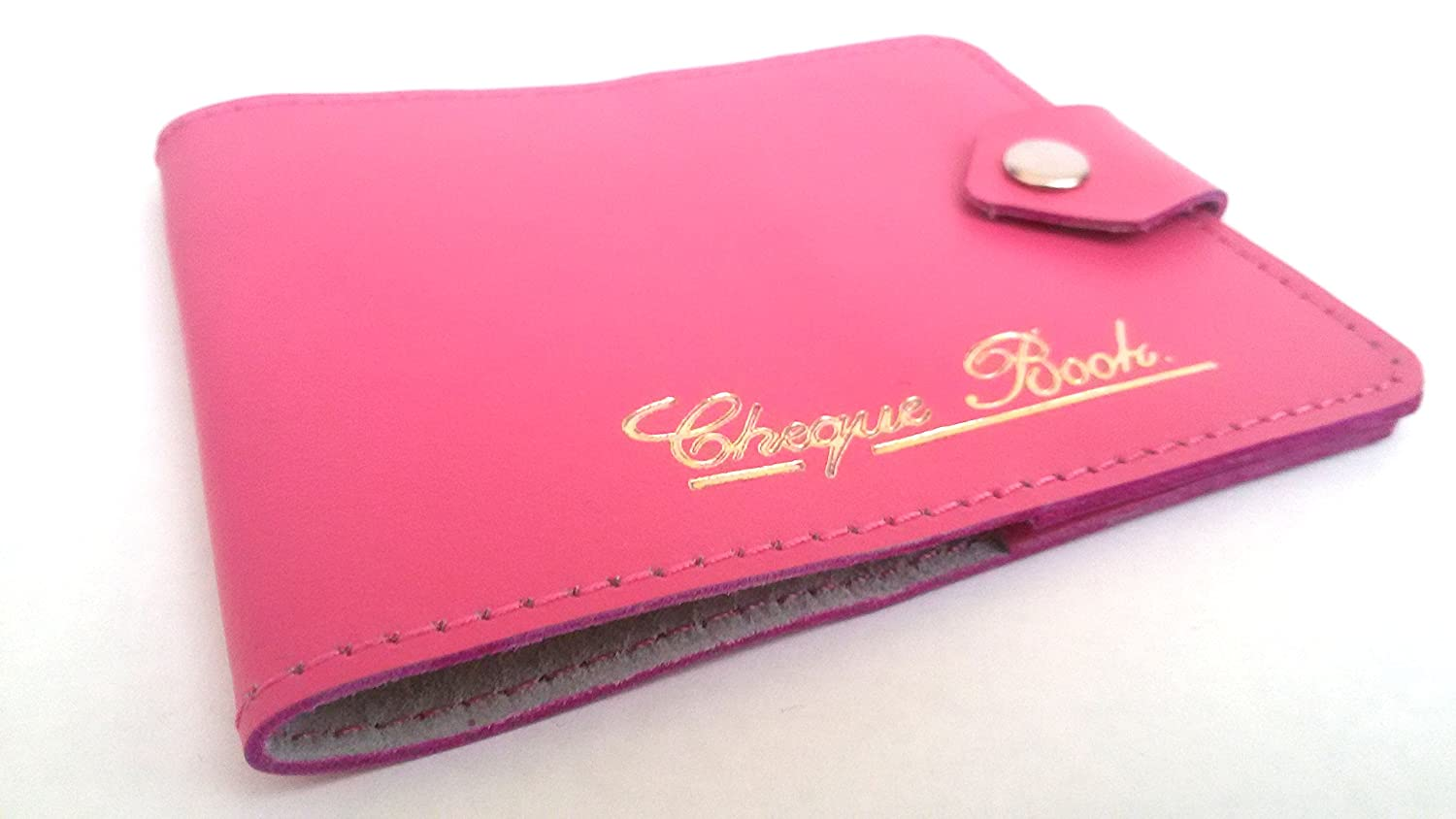 AKSHIDE Pink Bonded Leather Style Cheque Book Holder /Leather Style Cheque Book Cover