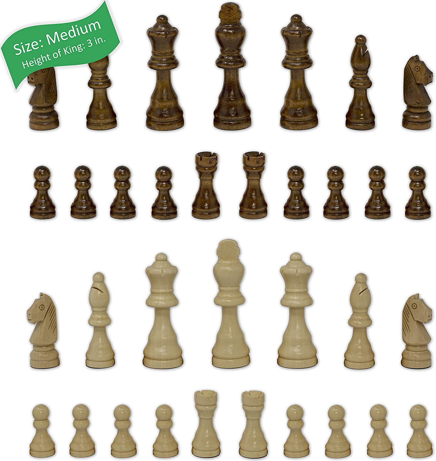 Staunton Chess Pieces by GrowUpSmart with Extra Queens | Size: Medium - King Height: 3 inches | Wood
