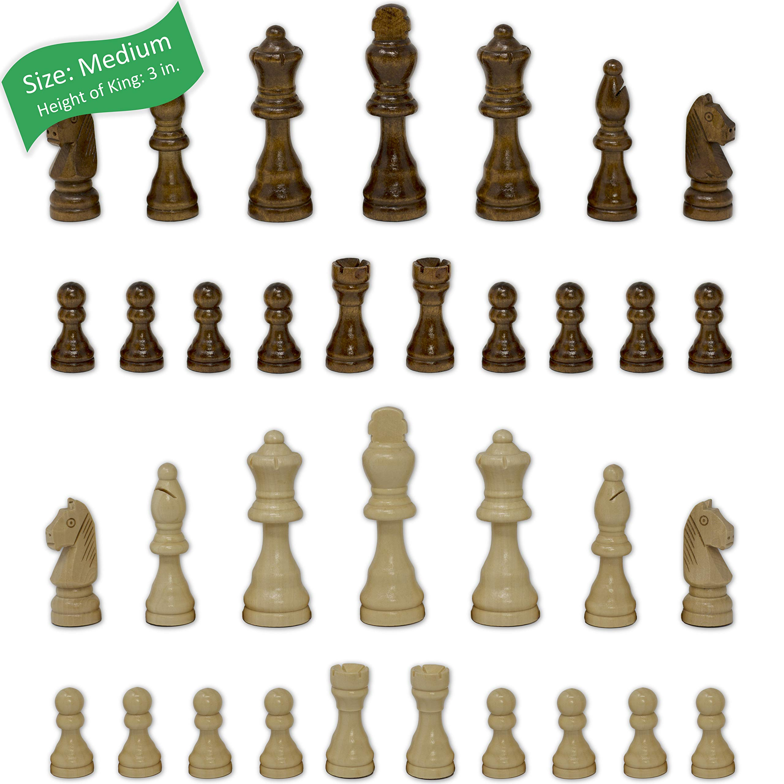 Staunton Chess Pieces by GrowUpSmart with Extra Queens | Size: Medium - King Height: 3 inches | Wood by GrowUpSmart