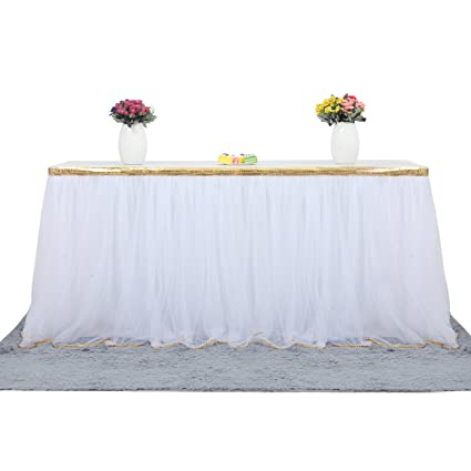 a647ba84dc Amazon.com: 6 ft White Table Skirt With Gold Sequin Tulle Table ...