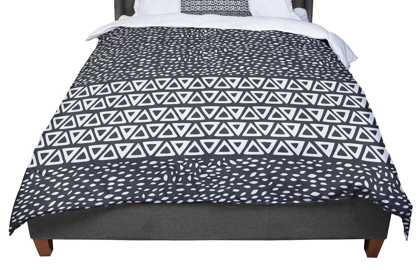 68 X 88 KESS InHouse Pom Graphic Design Going Tribal Gray Green Twin Comforter