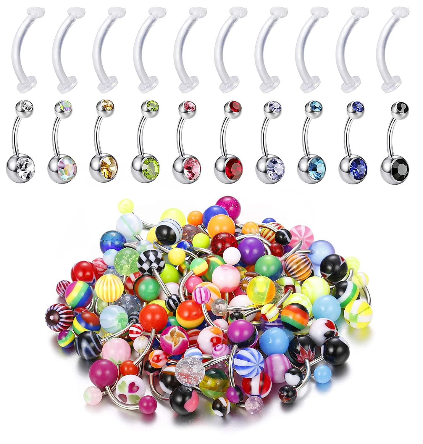 Amazon Com Udalyn 100pcs 14g Stainless Steel Belly Button Ring Set