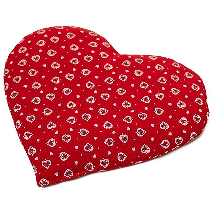 Saquito térmico en corazón 30x25 rojo con corazones ...