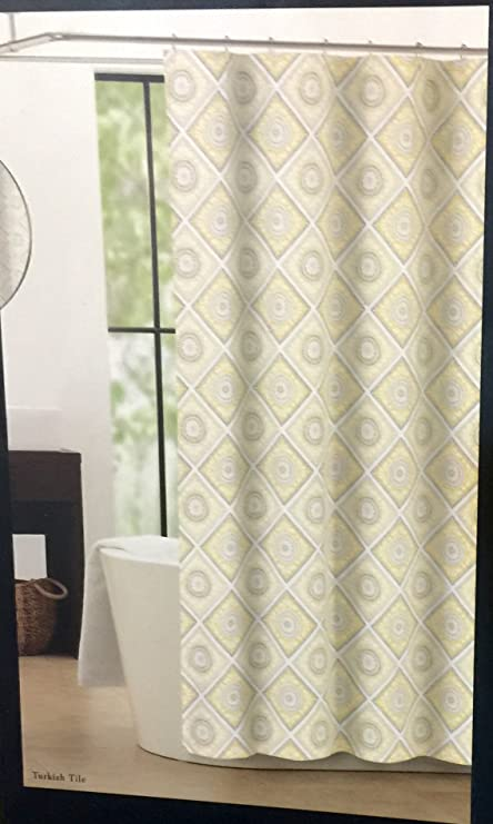 Amazon.com: Nicole Miller Home Shower Curtain Turkish Tile - Yellow ...