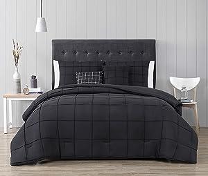 Geneva Home Fashion Nellie Comforter Set, Twin, Black