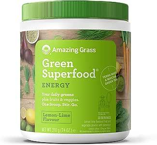 Amazing Grass Green Superfood, Energy Lemon Lime, 30 Servings, 210 g