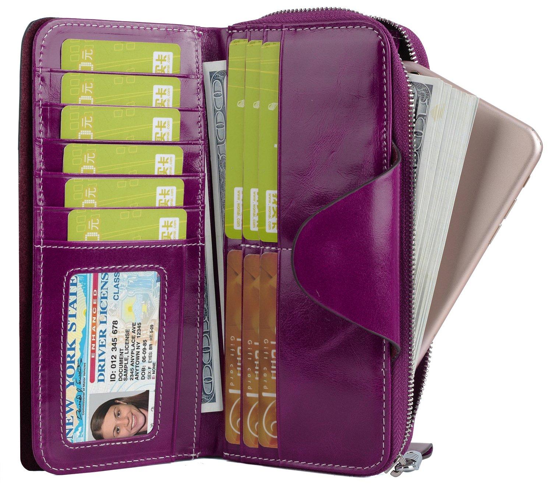 YALUXE Women's RFID Blocking Large Tri-fold Leather Wallet Ladies Luxury Zipper Clutch Fuchsia by YALUXE (Image #4)