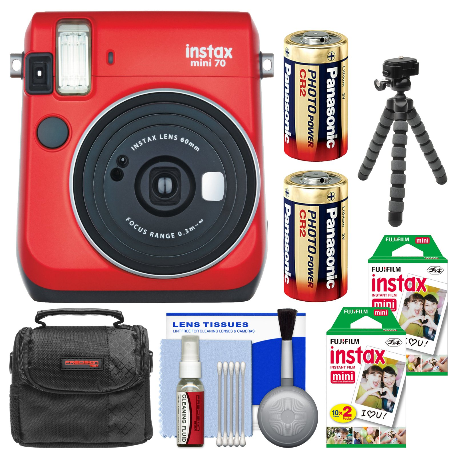 Fujifilm Instax Mini 70 Instant Film Camera (Passion Red) with 40 Prints + Case + Batteries + Flex Tripod + Kit by Fujifilm