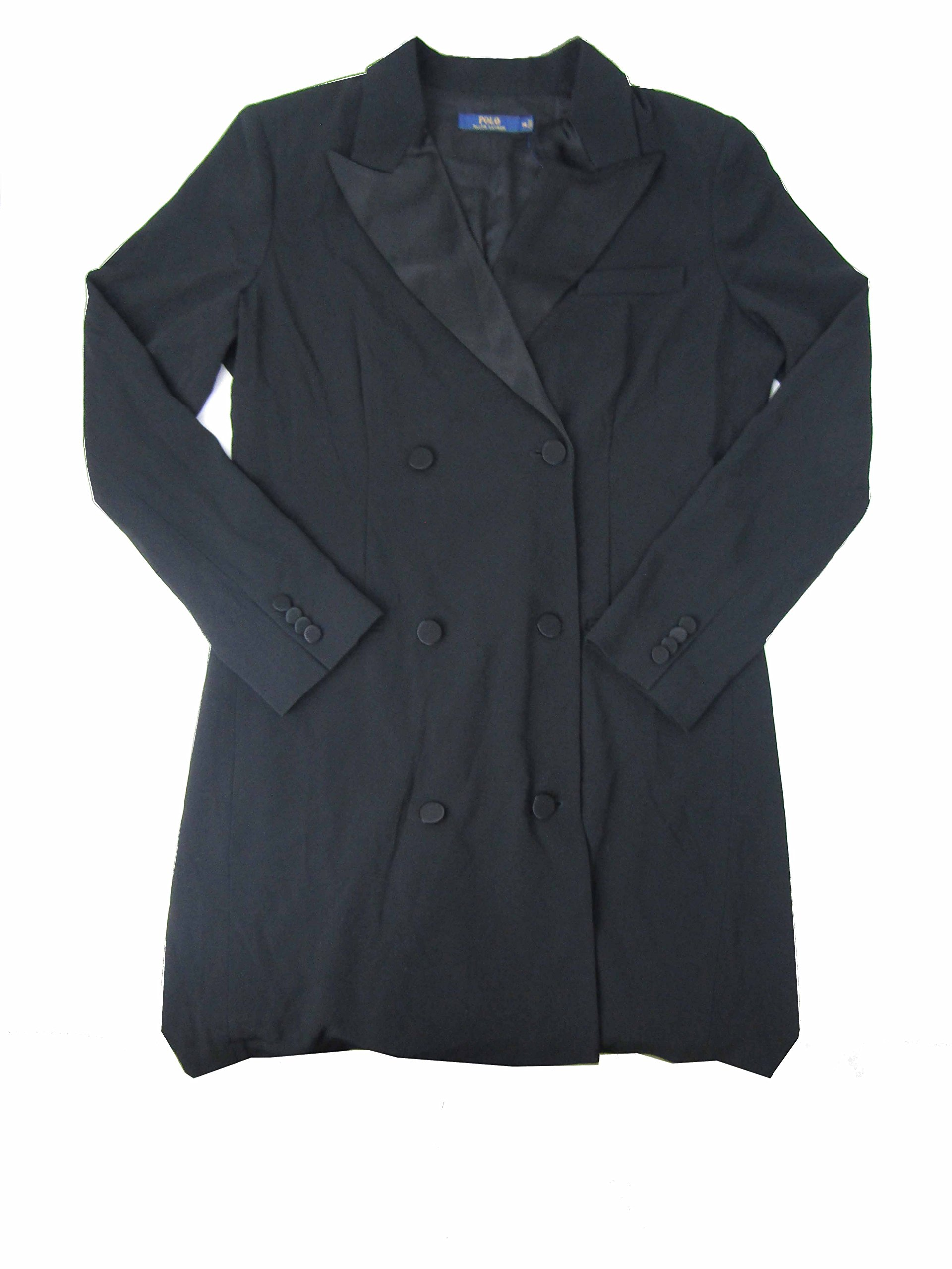 Polo Ralph Lauren Women's Crepe Double-Breasted Jacket (Polo Black, 14)