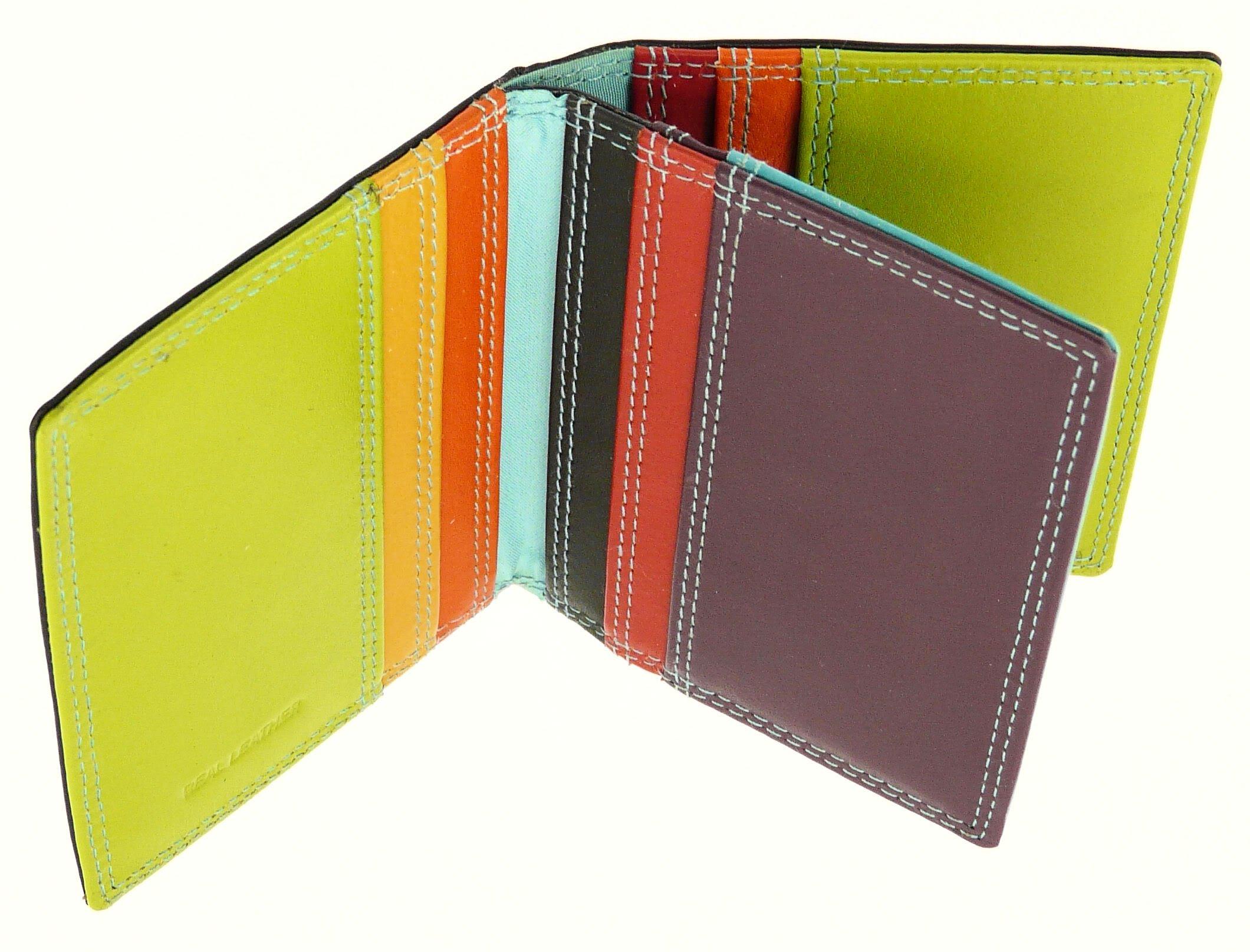 Black & Multi-color Leather Credit Card Holder / Wallet - Holds 10 Credit Cards by Neptune Giftware (Image #2)