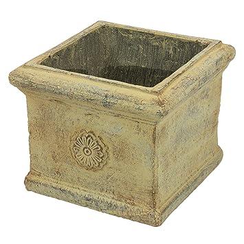 Marrón de cerámica maceta spooff, en griego decoración casera 19,5 x 19,
