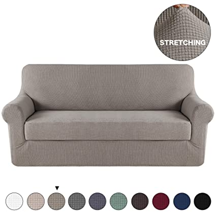Turquoize 2 Piece Couch Covers High Stretch Sofa Cover Protector Couch Soft  with Elastic Bottom Knitted Jacquard, High Stretch Form Fit Slip Resistant  ...