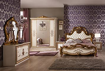 Schlafzimmer Anja beige Italien König Barock Bett 160x200cm ...