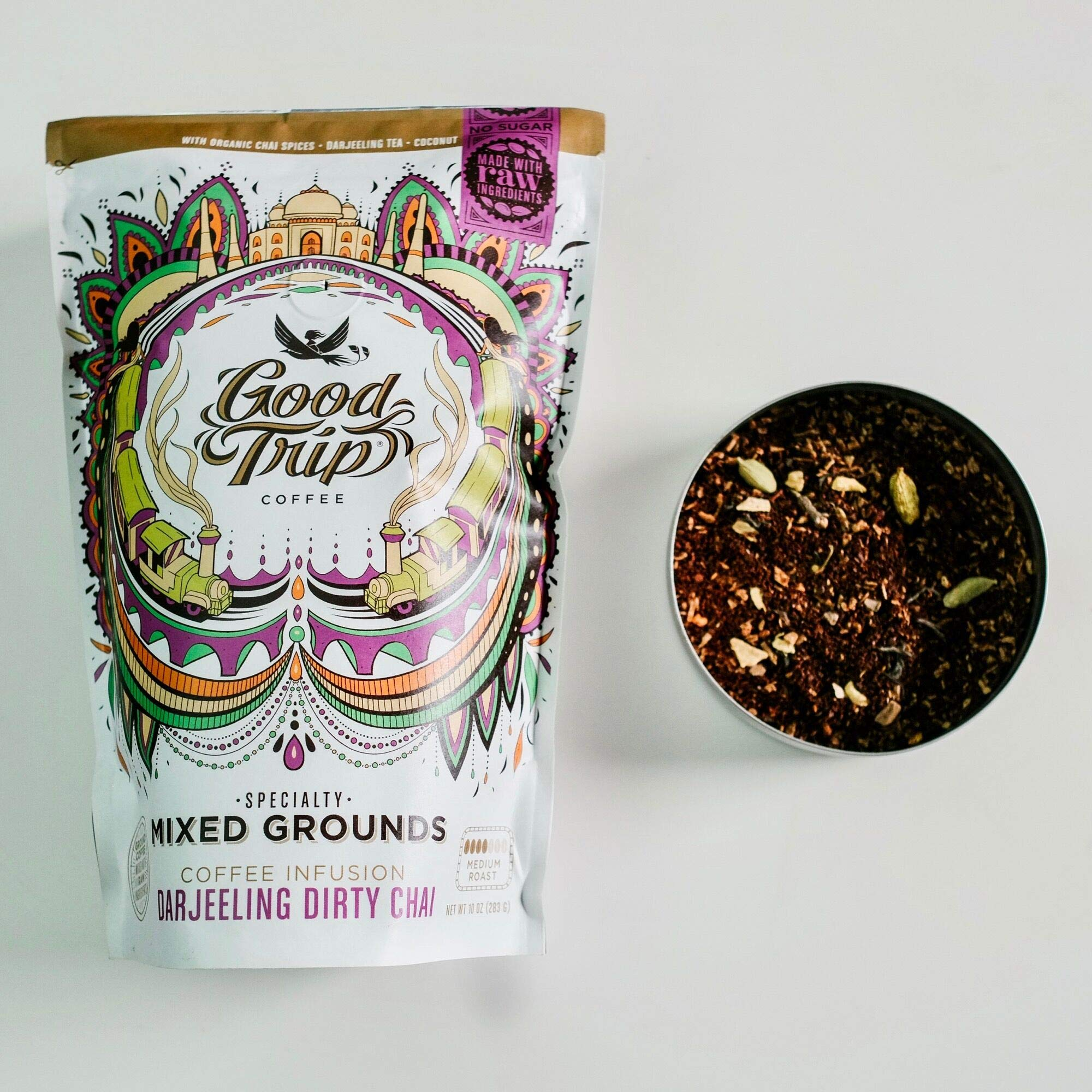Good Trip: Darjeeling Dirty Chai ~ As Seen in Anthropologie | Organic Coffee Infusion Mixed w/ Tea, Spices & Coconut | Vegan, GF, Keto, Non-GMO | (Coarse Ground for Cold Brew or French Press), 10 oz