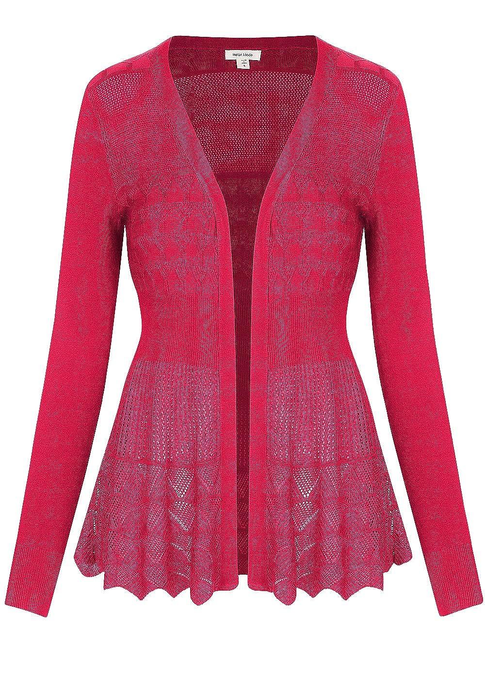 C09115 Coral Instar Mode InstarMode Women's Long Sleeve Crochet Knit Sweater Draped Open Cardigan