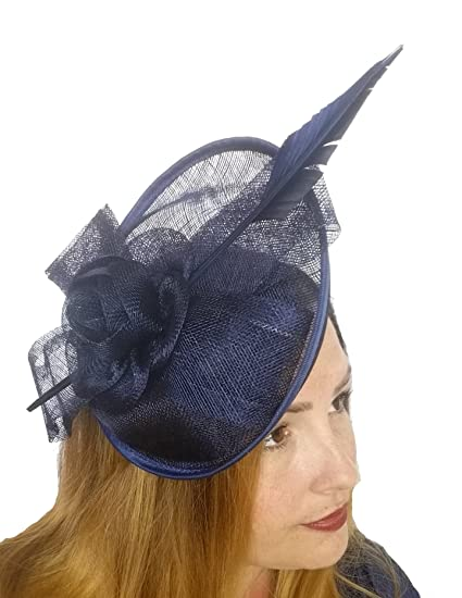 d42163a2655d2 Chapter 78 Boutique Navy Dark Blue Bow Saucer Sinamay Fascinator - Occasion  Wedding Races