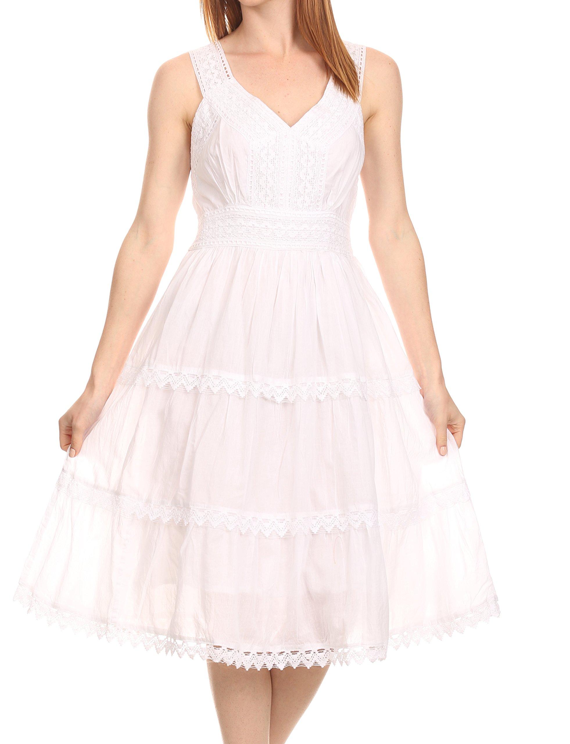 Sakkas KD2155 - Presta Roman Sleeveless Lined Tank Top Dress with Emrboidery Lace Design - White - 1X