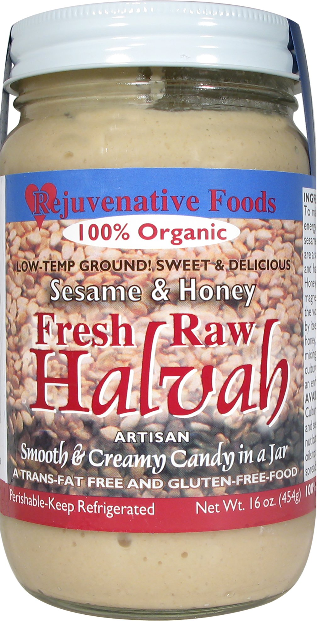 Fresh Raw Organic Traditional Halvah Pure Rejuvenative Foods Candy-In-Glass Smooth-Creamy Low-Temp-Ground Artisan-Ayurvedic Vitamin-Protein-Antioxidant-Mineral-Nutrition Certified Organic by Rejuvenative Foods