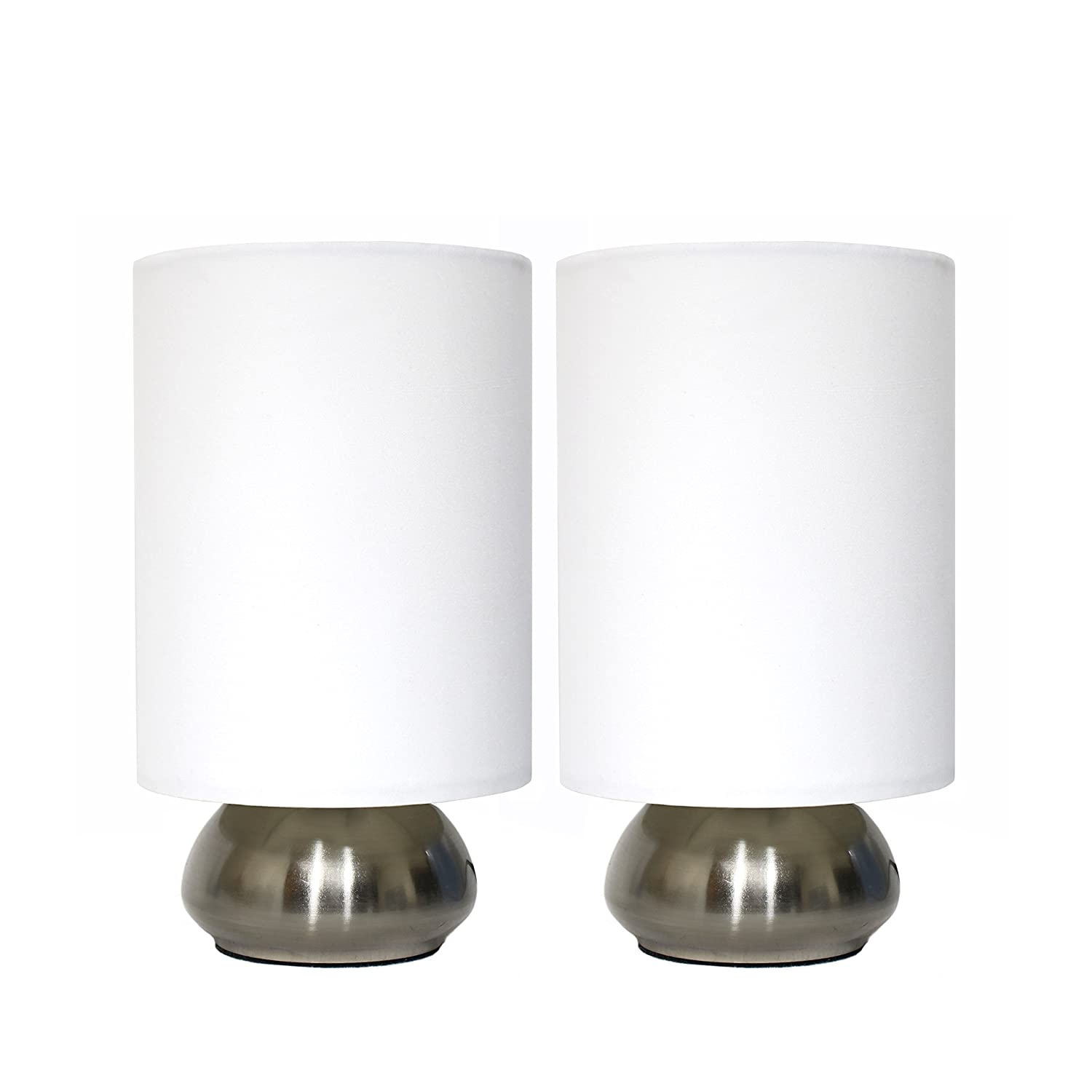 Matching floor and table lamps - Simple Designs Lt2016 Ivy 2pk Gemini Brushed Nickel 2 Pack Mini Touch Lamp Set With Fabric Shades Ivory