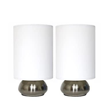 Simple Designs Home LT2016-IVY-2PK Simple Designs Gemini Brushed Nickel 2 Pack Mini Touch Lamp Set with Fabric Shades, 4.4  x 5.12  x 9.2 , Ivory Shade
