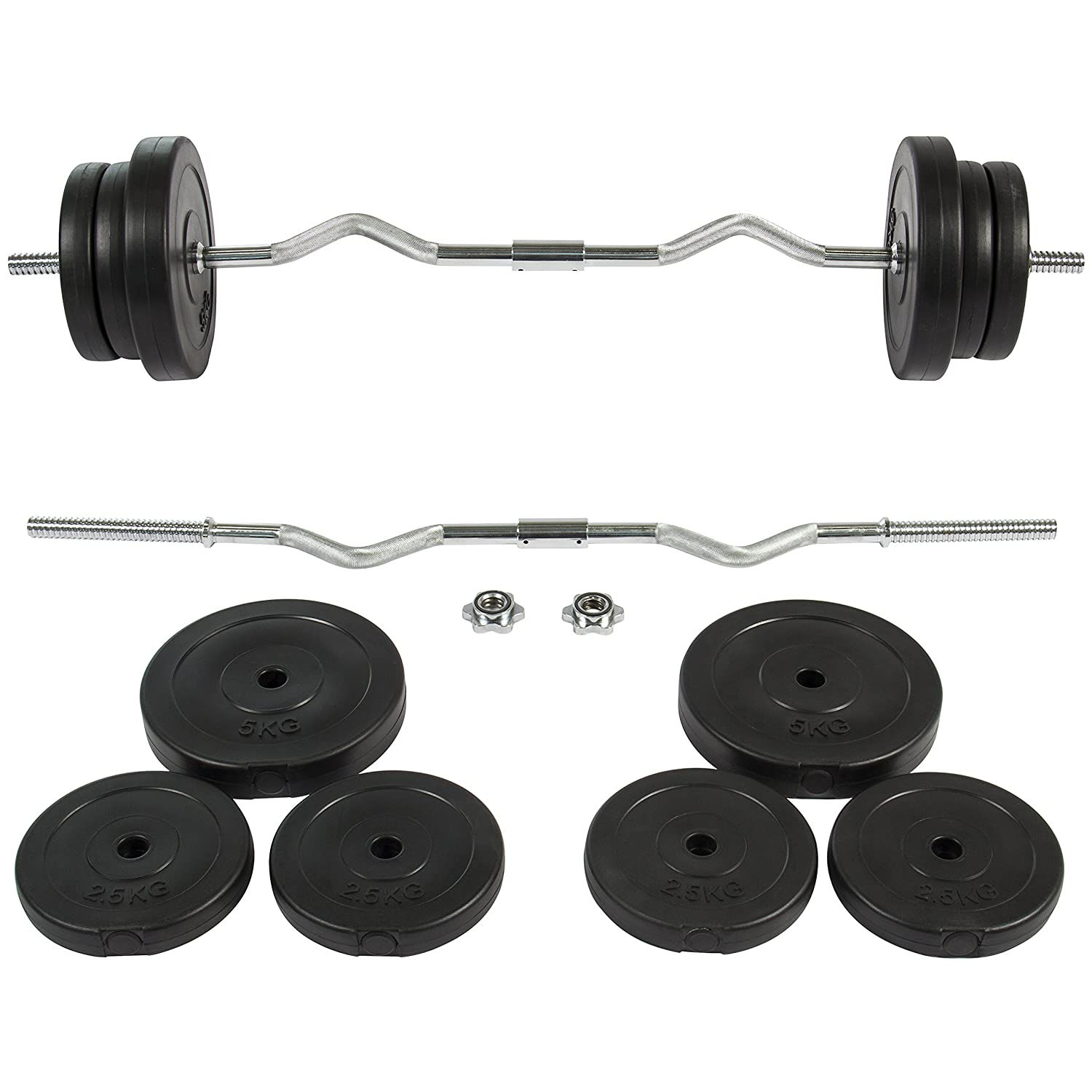 Best Choice Products 55lb 1in EZ Curl Bar Barbell Weight Set w/ 2 Lock Clamp Collars, Plates - Silver/Black