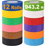 Colored Masking Tape, Rainbow Colors Painters Tape Colorful Craft Art Paper Tape for Kids Labeling Arts Crafts DIY Decorative