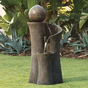 "John Timberland Modern Sphere Zen Outdoor Water Fountain 39 1/2"" with LED Light for Exterior Garden Yard Lawn"