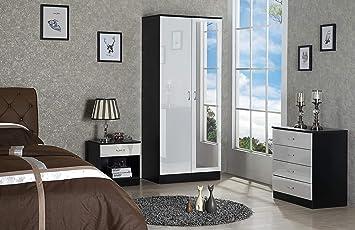 Harmin Ltd Mirrored High Gloss 3 Piece Bedroom Furniture Set Soft