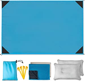 Ofra's Beach Blanket Sandproof Size 6'X4.5' for Family | Big, Compact and Waterproof | Lightweight Durable with 4 Stakes, 2 Pillows and 2 Cooling Towels | Fit for Hiking, Picnics and Camping