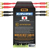4 Units - 6 Inch - Canare 4S11 – Audiophile Grade - 11AWG - HiFi Speaker Cable Jumper Terminated with Gold Spade…