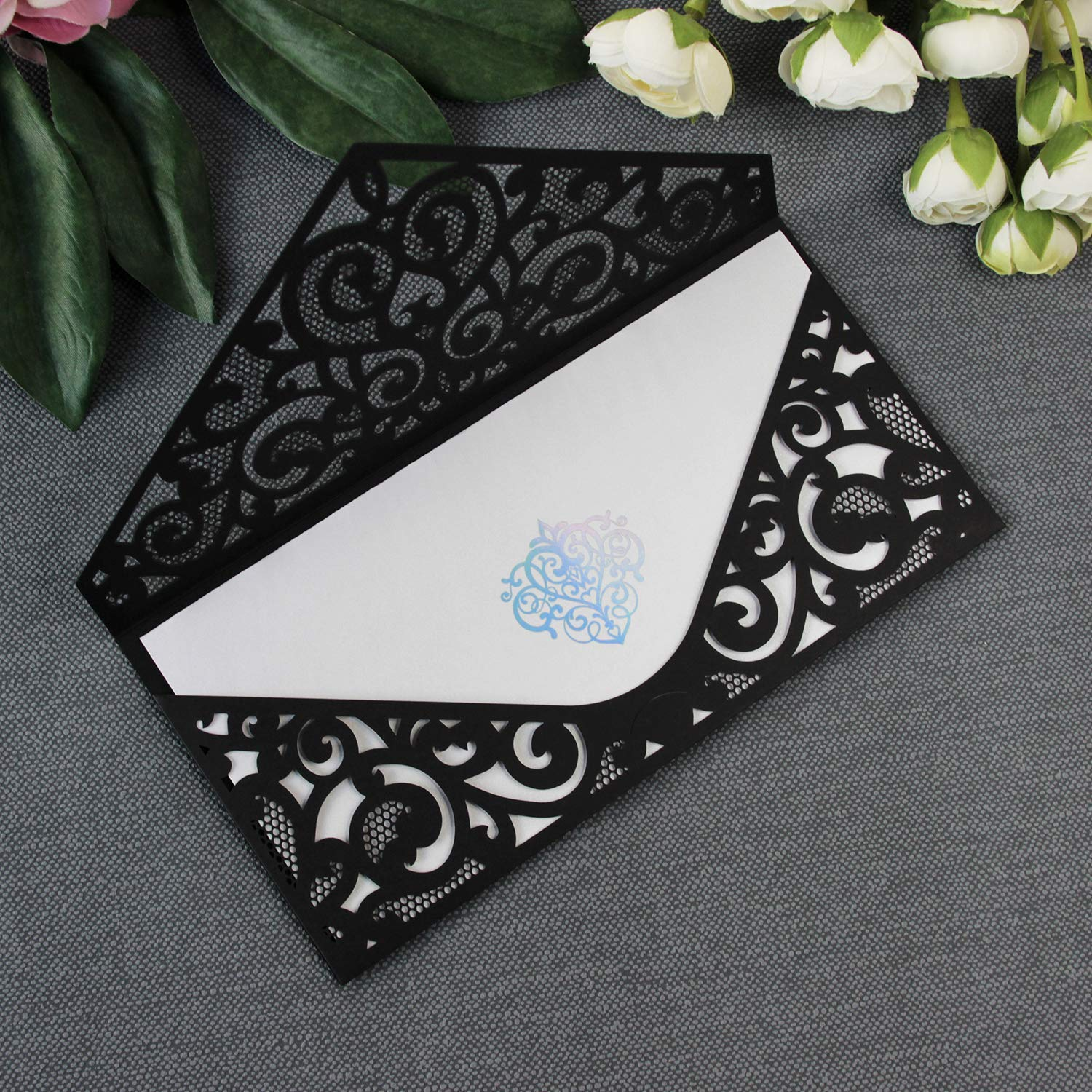 50 Cards Pack Elegant Black Wedding Invitations With Envelopes Ornamented Insert In Diy Kit Laser Cut Lace Cards With Printable Template Amazon Co Uk Handmade