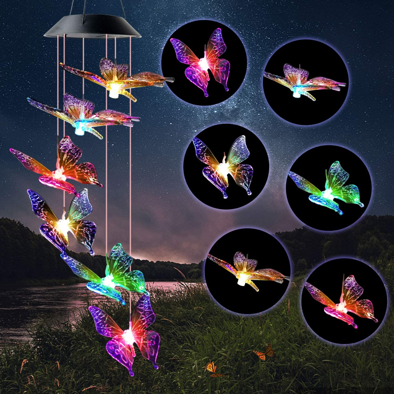 JOBOSI Butterfly Wind Chimes Gifts for mom Solar Wind Chime Butterfly Wind Chimes Glowing Wind Chimes Outdoor Decor mom Gifts Thanksgiving Gift Grandma GiftsS Hook Wind Chimes Wind Chimes Gifts