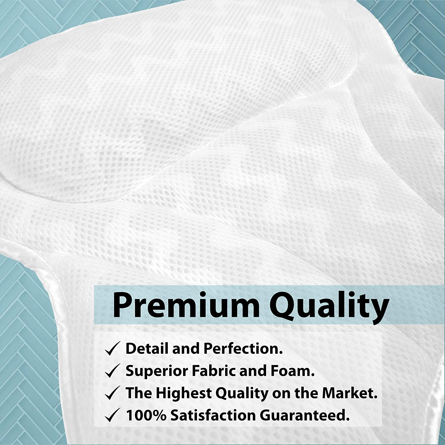BILLIE BEAN Luxury Bath Pillow for Bathtub - 4 Bath Bombs Included - Extra Strong Suction Bath Pillows for Tub Neck and Back Support - A Relaxing Bathtub Pillow - Billie Bean Bath Accessories : Beauty