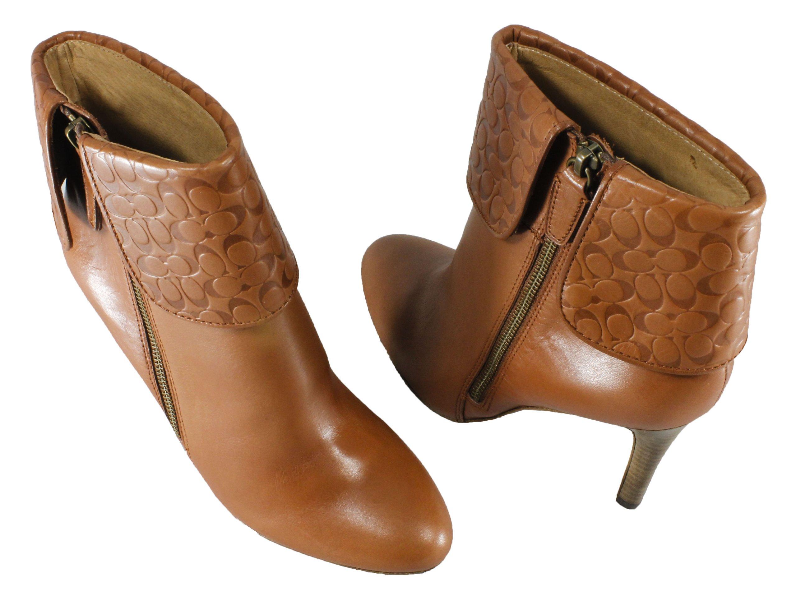 Coach Women's Mackenna Soft Leather Bootie (Cognac, 10)