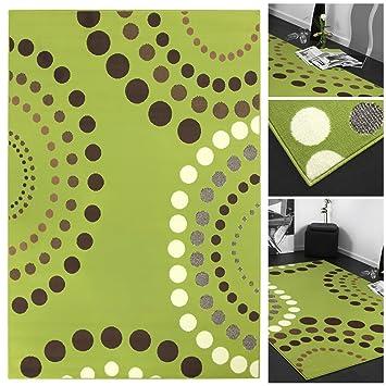 Trendiger Designer Teppich Mit Abstrakten Punkten In Grün Braun Creme |  Teppich Läufer Gepunktet Mit