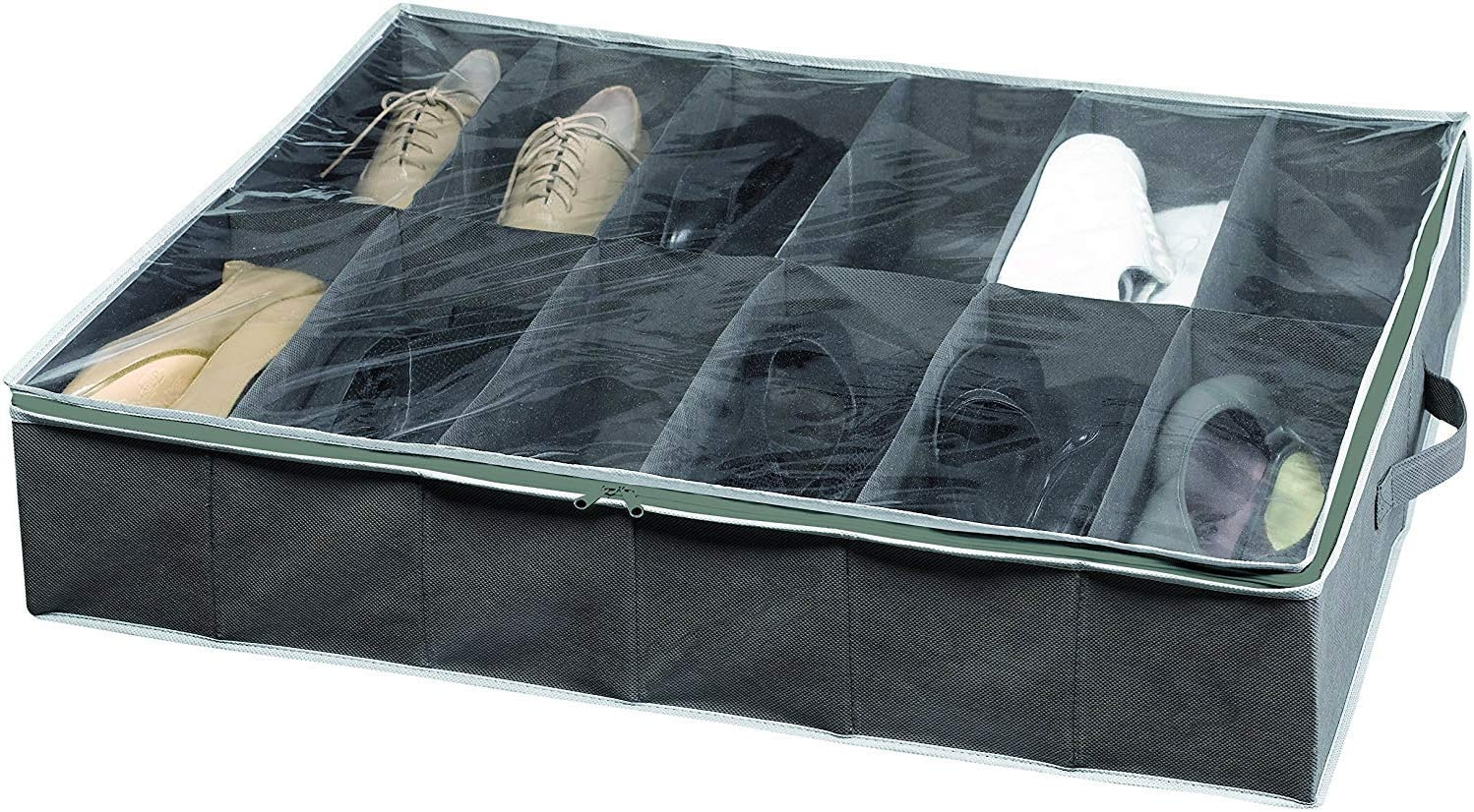 Compactor Novara Dora 12 Compartment Under bed Shoe Storage Bag, Dark Grey