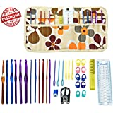 Crochet Hooks Set, Cozypony 32Pcs Colorful Aluminum Knitting Needles Weave Yarn Set Ideal Gift for Beginners Experienced Crocheters Mom or Friends (12 Crochet Needles & 20 Accessories)