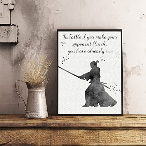 Samurai Quote Watercolor Posters Japanese Art Prints Katana Wall Decor Artworks Dining Room