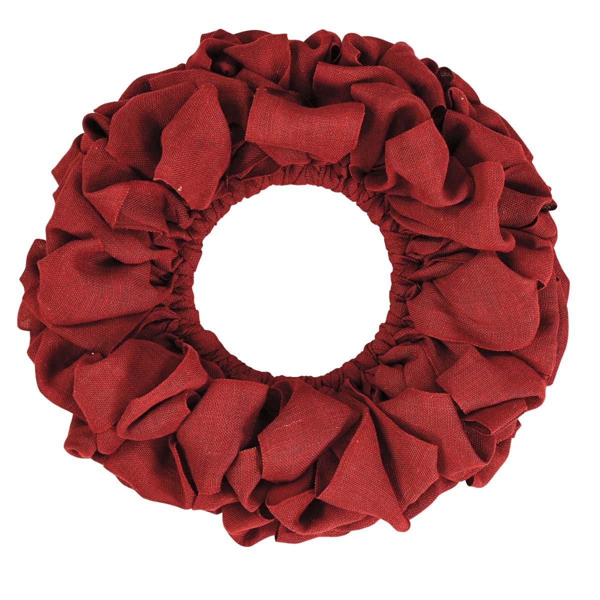 VHC Brands Christmas Holiday Decor - Burlap Round Wreath, Red, 20'' Diameter