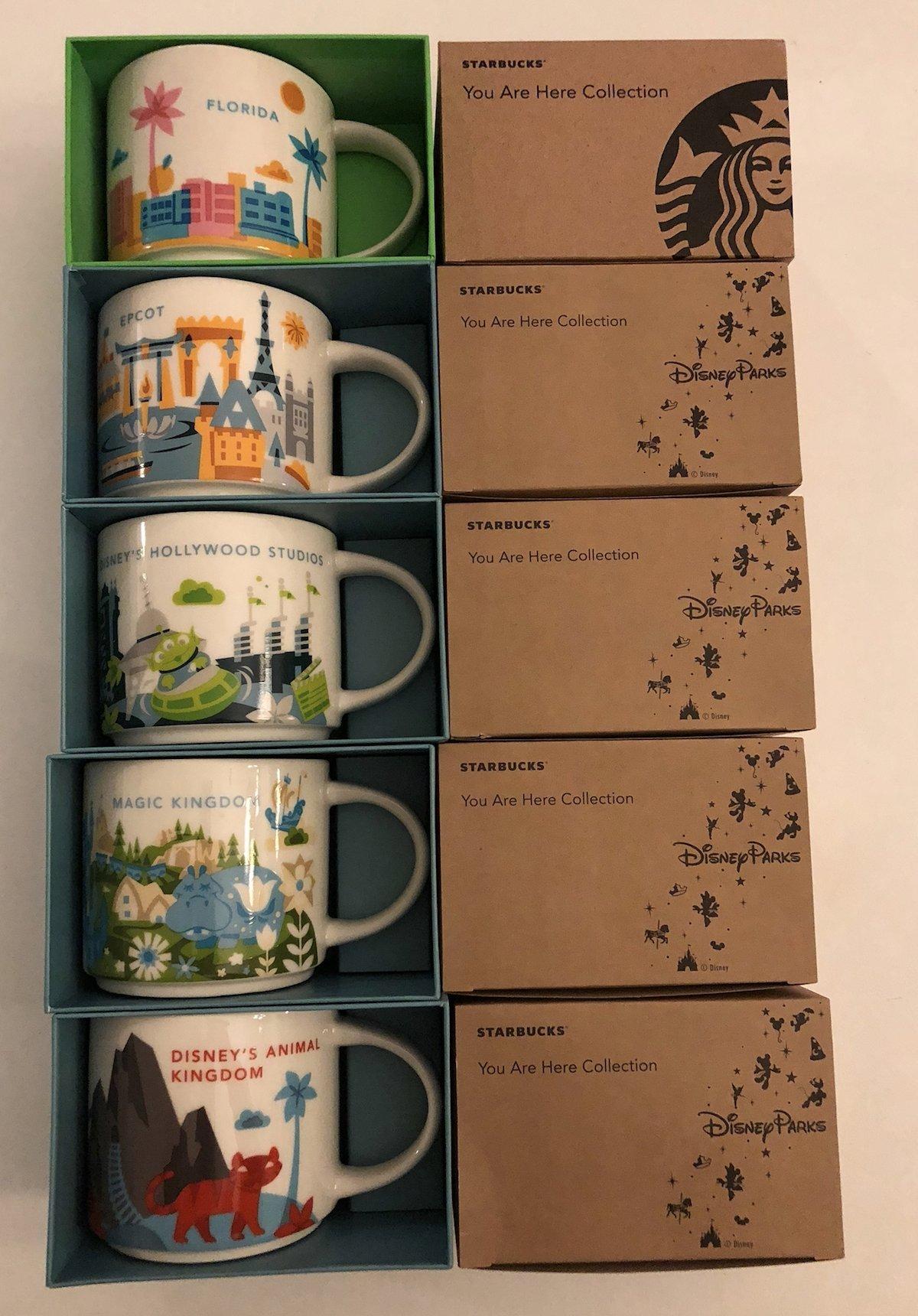 5 Mug Set: Animal Kingdom+ Magic Kingdom+Epcot+ Disney's Hollywood Studios+ Florida You Are Here YAH 14 Oz. Starbucks Mugs