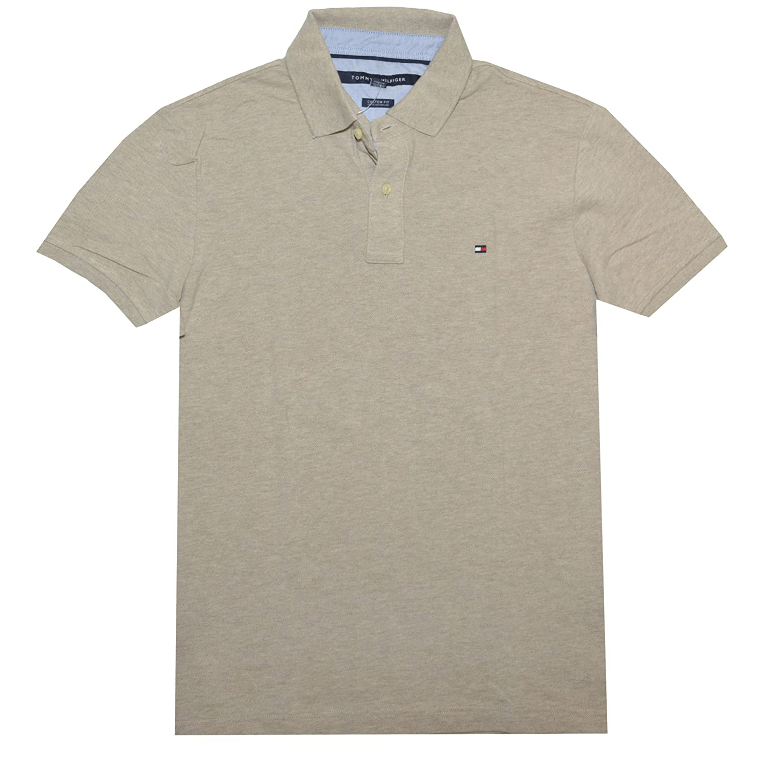 Tommy Hilfiger Men Custom Fit Polo T-shirt (XXL, Beige): Amazon.es ...