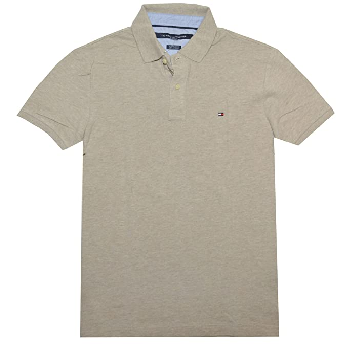 Tommy Hilfiger Men Custom Fit Polo T-shirt (XXL, Beige): Amazon.es ...