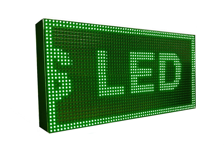Cartel LED programable con Temperatura y Reloj (64x32, Verde ...